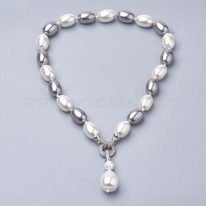 Collares de perlas de concha sintéticaNJEW-Q310-03-1