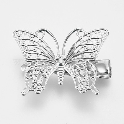 Rack Plating Hair Accessories Iron Alligator Hair Clip Findings MAK-WH0002-03P-1