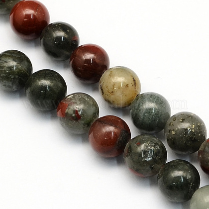 Naturales africanos abalorios bloodstone hebras G-S184-4mm-1