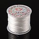Flat Elastic Crystal String, Elastic Beading Thread, for Stretch Bracelet Making, Dyed, White, 0.8mm