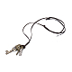 Adjustable Men's Zinc Alloy Pendant and Leather Cord Lariat NecklacesNJEW-BB15995-B-1