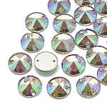 Sew on Rhinestone, K9 Glass Rhinestone, Two Holes, Garments Accessories, Back Plated, Faceted, Cone, Ghost Light, 16x5mm, Hole: 1mm