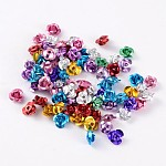 Aluminum Rose Flower, Tiny Metal Beads, Mixed Color, about 6mm wide, 4.5mm high, hole: 1mm, about 950pcs/bag