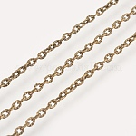 Iron Textured Cable Chains, Unwelded, with Spool, Antique Bronze, 3x2x0.6mm, 100m/roll