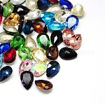 Glass Pointed Back Rhinestone Cabochons, Back Plated, Faceted Drop, Mixed Color, 30x20x8mm