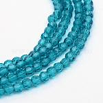 Chapelets de perles en verre transparent, ronde à facettes, darkturquoise, 6mm, trou: 1mm; environ 100 pcs/chapelet, 24