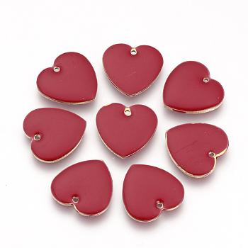 Ciondoli smaltato in ottone, paillettes smaltate, cuore, rosso, 16x16x3mm, Foro: 1 mm
