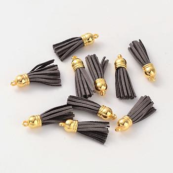 Pompon en cuir velours, avec des accessoires en plastique CCB, agréable pour le bricolage boucle d'oreille ou de lanières pour téléphones cellulaires faisant, slategray, 38x10mm, Trou: 2mm