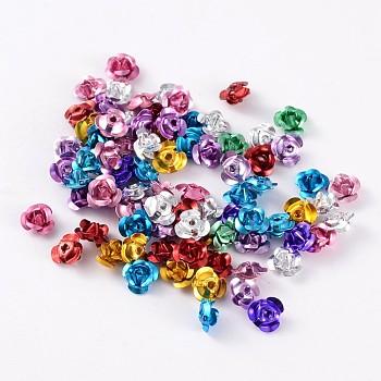 Fleur rose en aluminium, perles métalliques minuscules, couleur mixte, environ 6 mm de large, hauteur de 4.5 mm , Trou: 1mm, environ 950 pcs / sachet