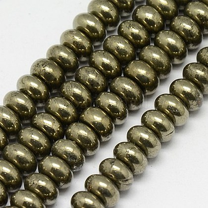Natural Pyrite Beads StrandsG-L032-8x5mm-01-1