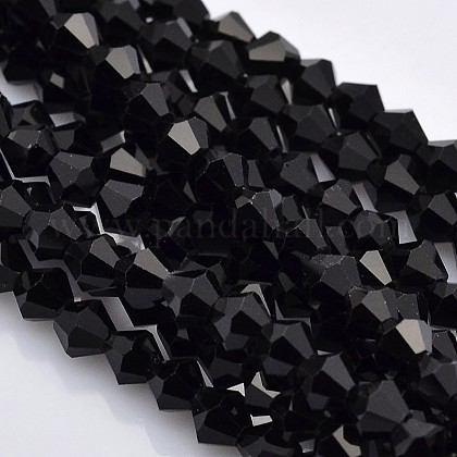 Faceted Bicone Glass Beads Strands X-EGLA-P017-3mm-04-1