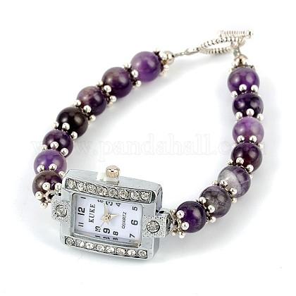 Rectangle Alloy Rhinestone Electronic Watch BraceletsBJEW-JB01737-03-1