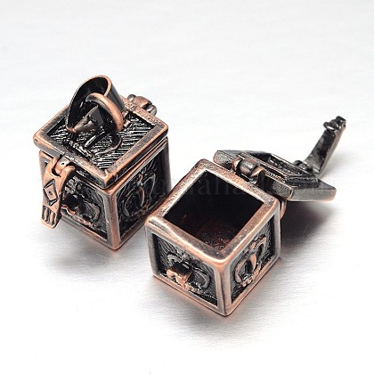 刻まれたキューブラックメッキ真鍮祈りボックスペンダントKK-L101-21-1