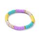 Handmade Polymer Clay Heishi Beads Stretch BraceletsBJEW-JB04487-M-2