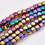 Chapelets de perles en hématite synthétique sans magnétiques, cube, Grade a, multi-couleur plaquée, 4x4x4mm, trou: 1mm; environ 100 pcs/chapelet, 16
