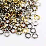Mixed Color Close but Unsoldered Iron Jump Rings, 21 Gauge, 6x0.7mm; Inner Diameter: 5mm; about 5500pcs/500g
