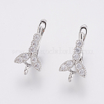Brass Micro Pave Cubic Zirconia Hoop Earrings Findings, Flower, Clear, Platinum, 20x9x13mm, Hole: 1.5mm; Pin: 1.2mm