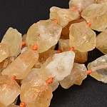 Nuggets Natural Citrine Bead Strands, 16~28x9~20x10~25mm, Hole: 1mm; about 16~17pcs/strand, 15.5