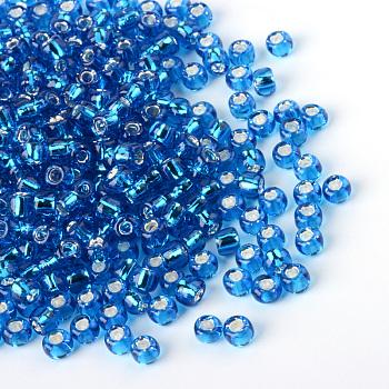 Cuentas de vidrio mgb matsuno, Abalorios de la semilla japonés, 12/0 de plata abalorios de vidrio revestido rocailles agujero redondo de semillas, cielo azul profundo, 2x1mm, Agujero: 0.5 mm, aproximamente 1960 unidades / 20 g