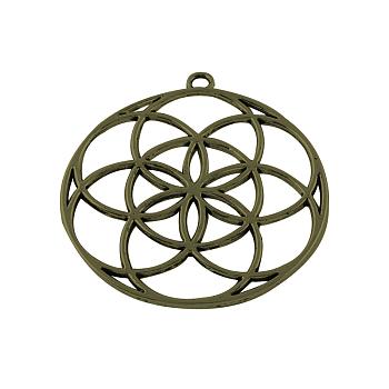 Tibetischen Stil Blumenlegierungsanhänger, Samen des Lebens / heilige Geometrie, Cadmiumfrei und Nickel frei und Bleifrei, Antik Bronze, 48x44x1.5 mm, Bohrung: 3 mm