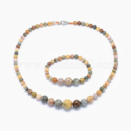 Natural Ocean Jasper Graduated Beads Necklaces and Bracelets Jewelry SetsSJEW-L132-03-1