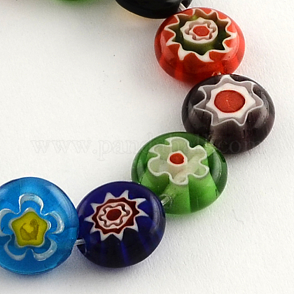Flat Round Handmade Millefiori Glass BeadsLK-R004-55-1