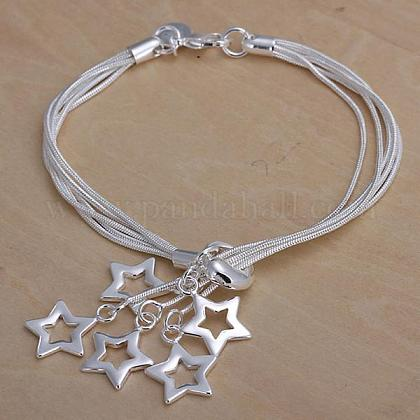 Brass Star Charm Bracelets For Women BJEW-BB12525-1