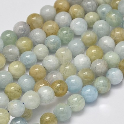 Round Natural Aquamarine Beads Strands G-K068-05-6mm-1