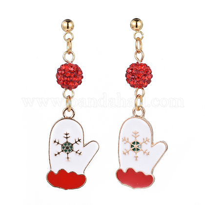 Alloy Enamel Stud Earrings EJEW-JE03392-05-1