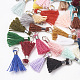 Polycotton(Polyester Cotton) Tassel Pendant Decorations, Mini Tassel, with Brass Findings, Platinum, Mixed Color, 10~15x3~4mm, Hole: 2mm
