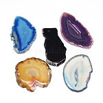 Natural & Synthetic Mixed Stone Slices Pendants, Mixed Shapes, 40~85x23~48x4.5mm, Hole: 2mm