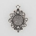 Тибетском стиле сеттинги филигрань сплава подвеска кабошон, античное серебро, плоско-круглый лоток : 12 мм ; 30x21x3 мм, отверстие : 2 мм