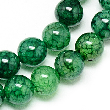 Natural Dragon Veins Agate Beads Strands, Dyed, Round, Green, 8mm, Hole: 1mm; about 48pcs/strand, 14.96inches