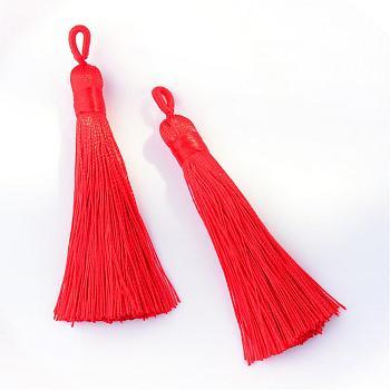 Полиэстер кисточка большие подвески украшения, красные, 80~90x8.5~9 мм, отверстие : 4x6 мм