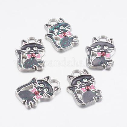 Pendentifs chaton en alliage d'émail noirX-ENAM-P026-1-1