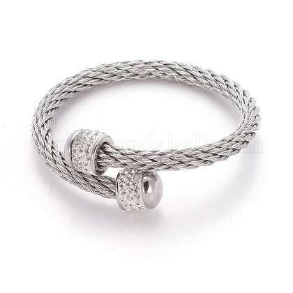 304 Stainless Steel Torque BanglesBJEW-L642-37P-1