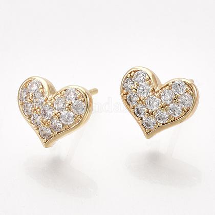Brass Cubic Zirconia Stud Earring FindingsKK-S350-383-1