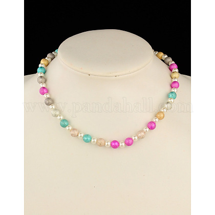 Fashion Imitation Acrylic Pearl  Stretchy Necklaces for Kids NJEW-JN00428-01-1