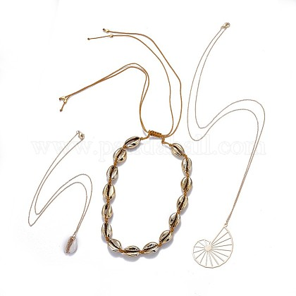 Cowrie Shell Choker Necklaces & Pendant Necklaces SetsNJEW-JN02404-1
