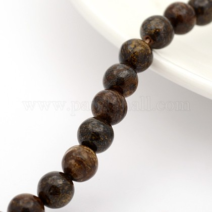 Natural Bronzite Round Bead Strands G-M272-05-6mm-1