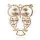 Light Gold Plated Alloy Rhinestone Owl Large Pendants ALRI-J005-01KCG-2