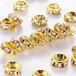 アイアン製ラインストーンスペーサービーズ, グレードA, ストレートエッジ, ロンデル, 金色, 透明, サイズ:直径約6mm, 厚さ3mm, 穴:1.5mm