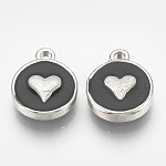 Alloy Enamel Charms, Flat Round with Heart, Platinum, Black, 14x11.5x2.5mm, Hole: 1mm