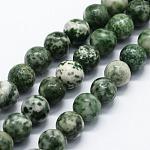 Chapelets de perles en jaspe à pois verts naturels, ronde, 6mm, trou: 0.8mm; environ 63 pcs/chapelet, 14.76