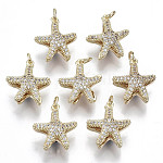 Brass Micro Pave Clear Cubic Zirconia Pendants, with Loop, Star, Nickel Free, Real 18K Gold Plated, Clear, 17x15x8mm, loop: 5x1mm thick, 3.5mm inner diameter