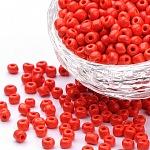 Abalorios de la semilla de cristal, colores opacos semilla, redondo, rojo, tamaño: aproximamente 4 mm de diámetro, agujero: 1.5 mm, aproximamente 4500 unidades / libra