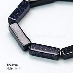 Gemstone Beads Strands, Synthetic Blue Goldstone, Cuboid, MidnightBlue, 12x4x4mm