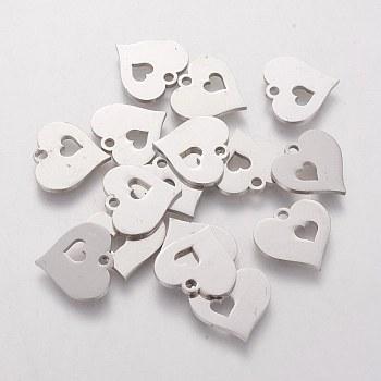 304 подвески нержавеющей стали, штамповка пустой метки, Сердце с сердцем, цвет нержавеющей стали, 12.5x12.5x1.2 мм, отверстие : 1 мм