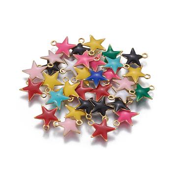 Charms smalto ottone, paillettes smaltate, stella, oro, colore misto, 10.5x10x1.7mm, Foro: 1.4 mm