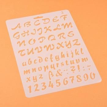 描画ツールプラスチック製図面型板テンプレート  長方形  アルファベットと数字の模様  ホワイト  25.5x17.4x0.04cm